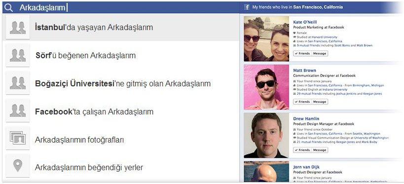 Facebook Sosyal Ağ Araması - Graph Search